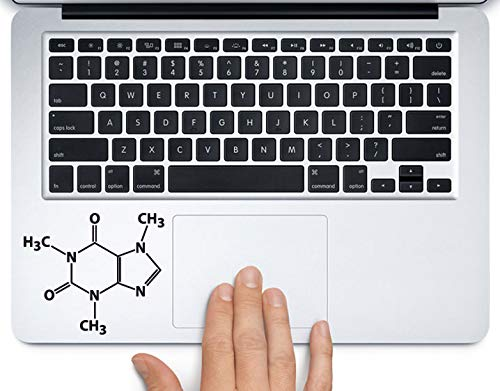 """Caffeine Molecule Science Chemistry Printed Trackpad Clear Vinyl Decal Sticker Compatible with Apple MacBook Pro Air 11"""" 12"""" 13"""" 15"""" All Years Laptop Keyboard (13"""" MacBook Air)"""