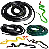Outee 7 Pcs Realistic Rubber Snakes Fake Snakes Christmas Gift Black Snake Toys for Garden Props to Scare Birds, Squirrels, Scary Gag Rubber Lifelike Snakes Halloween Pranks Props