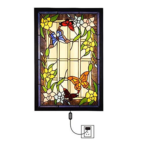 HLY Candelabro Simple, Lámpara Colgante Luz Candelabro Luz de Techo Estilo Rectangular Creativo Pared con Enchufe, Vidriera de Pared Led 36W 59X38Cm 2800-3600Lm para Pasillo Dormitorio Comedor, Libél