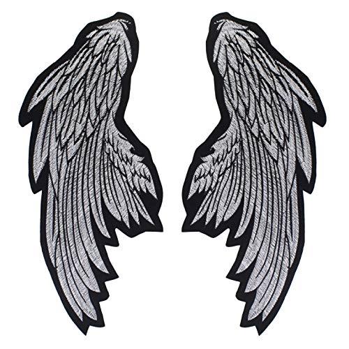 EMDOMO Aufnäher mit Flügeln, zum Aufbügeln auf Kleidung, für Jacke, Biker, 1 Paar