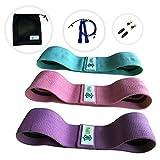 LIPPIA Pack 3 Bandes tissu élastique Fitness antidérapant + une corde à sauter + ses accessoires de remplacement + son sac de rangement, sport, crossfit, adulte, entrainement, musculation et yoga