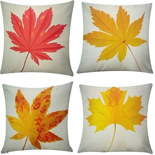 HOSL 4 Pack Autumn Leaf Fall Leaves Yellow Red Autumn Maple Leaf Decorative...