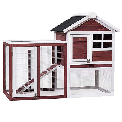 Tangkula Large Chicken Coop Wooden Rabbit Hutch Outdoor Garden Backyard Hen House Wood Pet House Poultry Cage with Outdoor Run (Red-Brown)