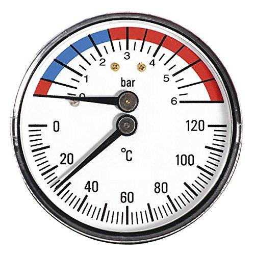 63mm 6BAR 120C Thermo-Manometer 1/2 Zoll Rückeingang Manometer