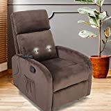 GOOD & GRACIOUS Recliner Chair, Morden Recliner Massage Chair Small Recliner Chair for Bedroom,Living Room, Heavy Duty, Brown