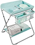 LAMXF Folding Changing Table for Baby Room Boy Girl Changing Tray for Dresser Changing Diaper Station Change Pad and Safety Strap Baby Changing Table with Pad and Shelf