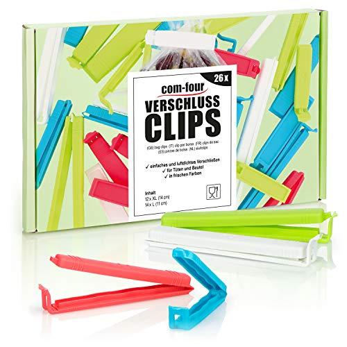 com-four® 26x Clips de Cierre XL de plástico - Clips de Cierre...