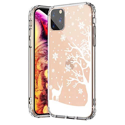 SevenPanda Hülle Silikon für iPhone 11, für iPhone 11 Hülle, TPU Hülle Case für iPhone 11 6.1 Zoll Durchsichtig mit Weihnachten Schneeflocke Hirsch Muster Case - Weißen Schneeflocke Hirsch
