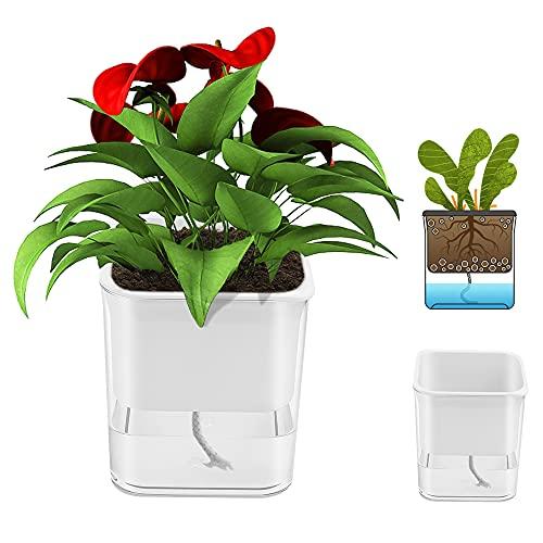 Fioriera autoirrigante, in plastica trasparente, con innaffiatura automatica, vasi bianchi per piante da interni ed esterni, vaso di fiori pigri per tutte le piante domestiche, piante grasse