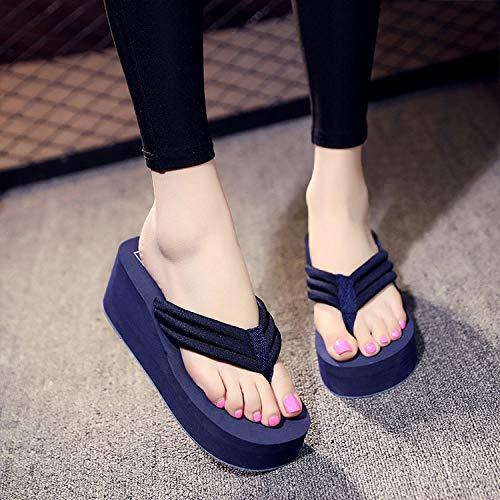 Sandalias Deslizantes Unisex,Zapatos de Playa de Suela Gruesa de Verano, Sandalias y Zapatillas de Tela Antideslizantes de Moda-Navy_41,Chanclas para Hombre