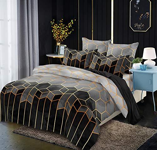 Juego de cama de microfibra, 220 x 240 cm, 3 piezas, diseño geométrico, funda de edredón suave con cremallera y 2 fundas de almohada de 50 x 75 cm (gris, King (220 x 240 cm)