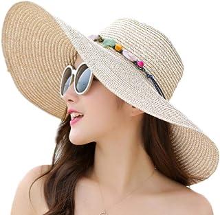 ASFSDG Las mujeres viajan Floppy sol sombrero de ala ancha ajustable poco voluminoso playa de la paja Accesorios Sombrero UPF 50+