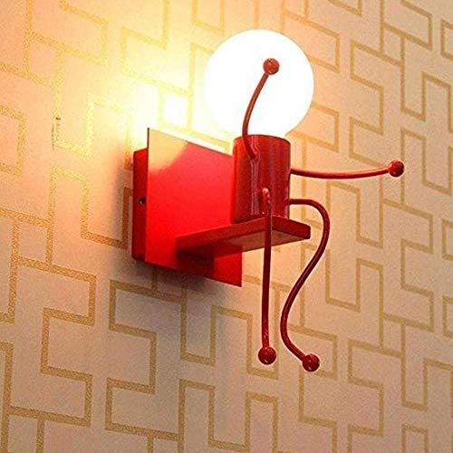 Wandstahler Lámpara de pared brillante y creativa, lámpara de pared infantil con cabeza única forjada, iluminación interior ajustable, 1 bombilla E27 para iluminación de pared