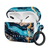 Burga AirPods Hardcase, Kompatibel mit Dem Ladecase für Apple AirPods PRO 2019, Blau Marmor Muster Blue Teal Turqoise Türkis Marble, Schutzhülle aus Hartplastik