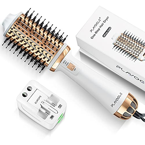 Plavogue One-Step Hair Dryer Brush,Blow Dryer Brush with Dual Voltage,Volumizer Hot Air Brush Hair dryers for Women,Upgraded International Travel Version (White Gold)