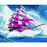 Joilkmgg Pintar por Numeros Pájaro de Barco de mar para Adultos Niños Pintura por Números con Pinceles y Pinturas Pintar por Numeros Decoraciones para el Hogar 40 X 50 cm sin Marco