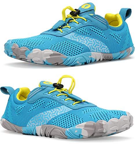WHITIN Zapatilla Minimalista de Barefoot Trail Running para Hombre Five Fingers Fivefingers Zapato Descalzo Correr Deportivas Fitness Gimnasio Calzado Asfalto Azul Claro 42 EU