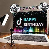 fondo de Tik Tok   Banner de cumpleaños de Pinkoi Tik Tok   Globos de Tik Tok con artículos para fiestas temáticas de música y entretenimiento (5 x 3 pies)