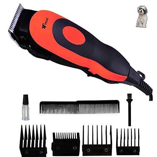 Cortapelos profesional Thulos para mascotas | 4 Peines: 3, 6, 9, 12mm | Incluye peine de barbero, cepillo de limpieza y aceite lubricante | Color naranja