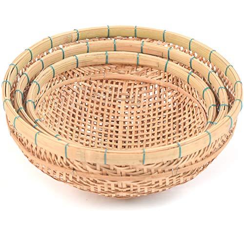 Natural Bamboo Basket, weaved basket in Use of Fruit Basket, cornucopia basket, Bread Baskets For Serving, bread basket storage, montessori baskets and trays, Round Wicker Baskets (Hold Basket Set 3)