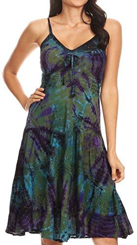 Sakkas 181304 - Zoe Women's Summer Bohemian Spaghetti Strap Short Dress Tie Dye Embroidered - Purple - L/XL