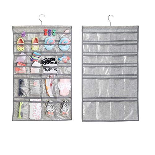 mDesign Soft Fabric Over Rod Hanging Storage Organizer with 48 Pockets for Child/Baby Room, Nursery, Playroom - Metal Hooks Included - Textured Print - 2 Pack - Gray