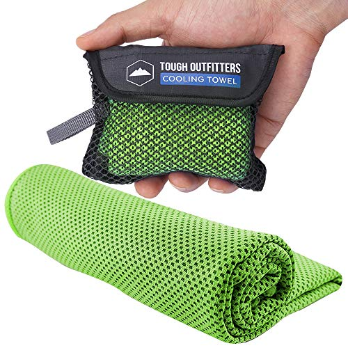 Cooling Towels - Sweat Rag & Towel for Gym, Workout, Running, Golf & Yoga - Head & Neck Cooling Wraps for Hot Weather - Neck Cooler for Quick Cool Down - Skin Cancer Foundation Recommended - Green