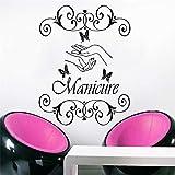 Pegatina de vinyl Wall Decal manicure uñas estetica peluqueria Salon de belleza de manos wallpapebutterfly Inicio Decoracion vinilos