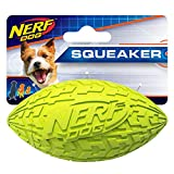 Nerf Dog 2195 4in Tire Squeak Football, Green, Dog Toy, Small