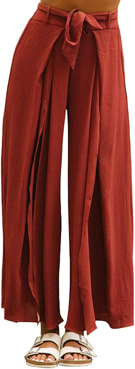 Absolufun Womens Drawstring Elastic Waist Wide Leg Slit Casual Long Palazzo Pants