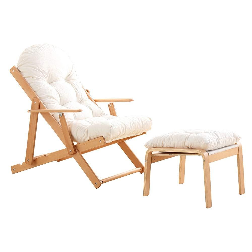 Axdwfd Tumbona Sillón de Madera, 3 ángulos Ajustables, reclinable Plegable, Silla de balcón, Silla de jardín al Aire Libre, Tumbona con Cojines y reposapiés (Color : White): Amazon.es: Hogar