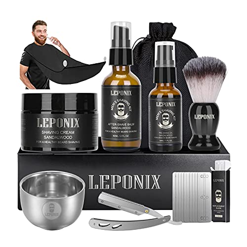 Straight Razor Shaving Kit, Includes Cut Throat Razor, Sandalwood Shaving Cream, Mens After Shave Balm, Pre-Shave Oil,Shaving Brush and Bowl,Beard Catcher Gift Set for Men Stocking Fillers