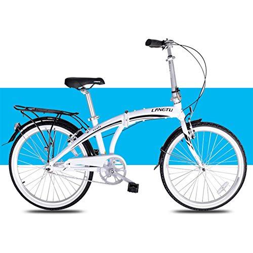Luce Folding Bike, biciclette adulti Uomini Donne pieghevoli, 24' Single Speed pieghevole City Bike biciclette, lega di alluminio della bicicletta con il posteriore Rack Carry, Bianco Adatto a uomin
