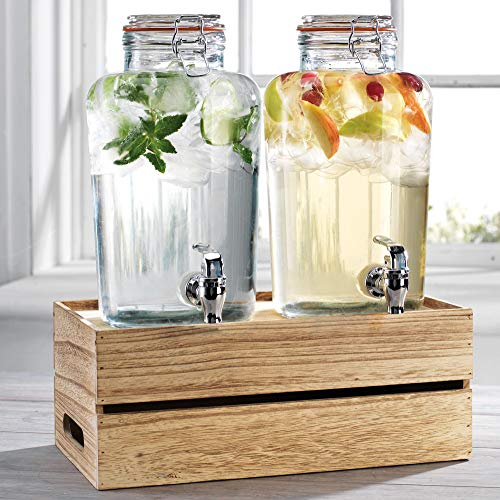 Outdoor Glass Beverage Dispenser + Wooden Base - 100% Leak Proof - Wide Mouth Easy Filling - Fun...