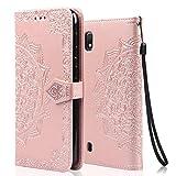 achoTREE Funda para Samsung A10, Cuero De La PU Capirotazo Billetera para Samsung Galaxy A10,Flip Cover Smart magnética con Stand Plegable - Oro Rosa