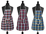 Package content: set of 3 waterproof kitchen aprons, pattern: checkered, waterproof- yes Material: cotton, product built with dedication by our experts Apron size: 20 x 28 inches, size adjustable due to ties at back. Easy wear, very light weight apro...