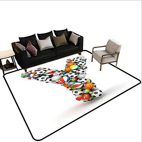 MsShe Zwembad anti-slip tapijt Letter X, Traditionele viering Ontwerp Naaldboom Font met Vrolijke Elementen op X, Multi kleuren