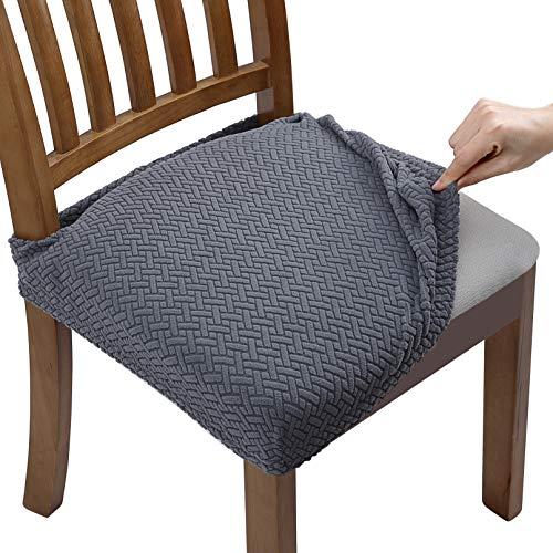 Fuloon Stretch Jacquard Stuhlhussen, Universal Stuhlhussen Bezug mit rutschfest elastischen Bändern Stuhlbezug für Esszimmer Stuhl Sitzbezüge, Abwaschbar, Keine Rückenlehne,Einfarbig (Gray, 2pcs)