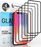 [4 Stück] LYMANO Panzer-Folie Glas Full Screen für iPhone 11 Pro Max & iPhone Xs Max Bildschirm-Schutzfolie Schutzglas Glass Protector [Anti Kratzer] [Blasenfrei] [Komplett Abdeckung] (6,5 Zoll)