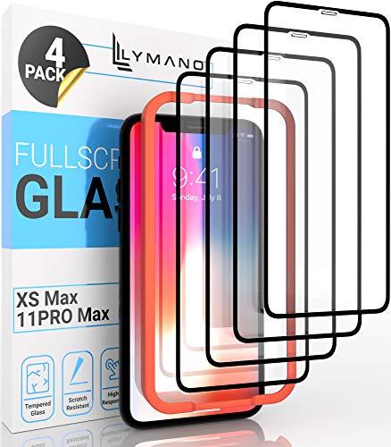 [4 Stück] LYMANO Panzer-Folie Glas Full Screen für iPhone 11 Pro Max und iPhone Xs Max Display-Schutzfolie Schutzglas Glass Protector [Anti Kratzer] [Blasenfrei] [Komplett Abdeckung] (6,5 Zoll)
