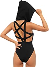 Women Rave Pentagram Bodysuit Jumpsuit Sexy Hoodie Festival Clothing Romper for Dance Party Clubwear