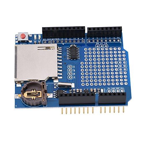 Oumefar 1-teiliges Data Logging Shield-Modul RTC 3.3V-Regler Mini-Schadensschutz-Datenrekorder für Computerkomponenten von Leonardo oder ADK/Mega R3 oder höher