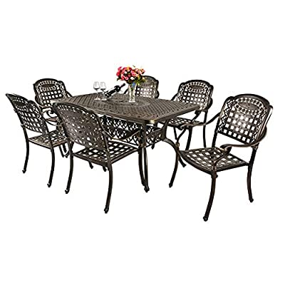 TITIMO 7-Piece Outdoor Furniture Dining Set, All-Weather Cast Aluminum Conversation Set Includes 6 Chairs and 1 Rectangular Table with Umbrella Hole for Patio Garden Deck