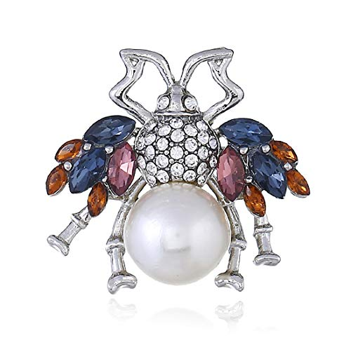 OLBGELYING Woman Jewelry Bee Diamond 3D Brooch Retro Exquisite Cute Alloy Pearl Insect Brooch Collar Pin Simple Jewelry (Color : Silver)
