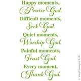 Happy Moments, Praise God, Seek, Worship, Trust, Quote Vinyl Wall Decal Sticker Art, Removable Words Home Decor, Lime Green, 12in x 23in