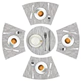LYPER Round Table Placemats Set of 5, Wedge Decorative Placemats with Centerpiece Woven Vinyl Heat Resistant Non-SlipTable Mats for Farmhouse Restaurant Hotel - 44x28 cm/Diameter 35cm (Silver Gray)