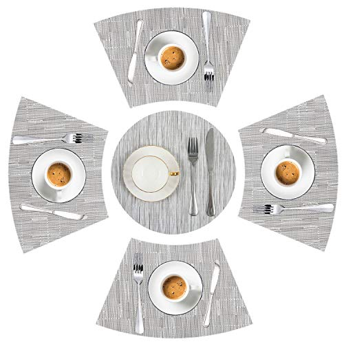 LYPER Round Table Placemats Set of 5 Wedge Decorative Placemats with Centerpiece Woven Vinyl Heat Resistant Non-SlipTable Mats for Farmhouse Restaurant Hotel - 44x28 cmDiameter 35cm Silver Gray
