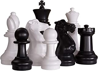 MegaChess Large Premium Chess Set with 16 Inch Tall King Black and White with Hard Plastic Chess Board