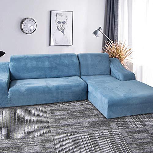 QSCV En Forma De L La Funda para Sofa Terciopelo Fundas para Sofa,Felpa Elasticidad Cubiertas De Couch para 3 Plazas,Anti-resbalón Funda Sofa Ajustables para Salon-Azul Ahumado 90-140cm(35-55')