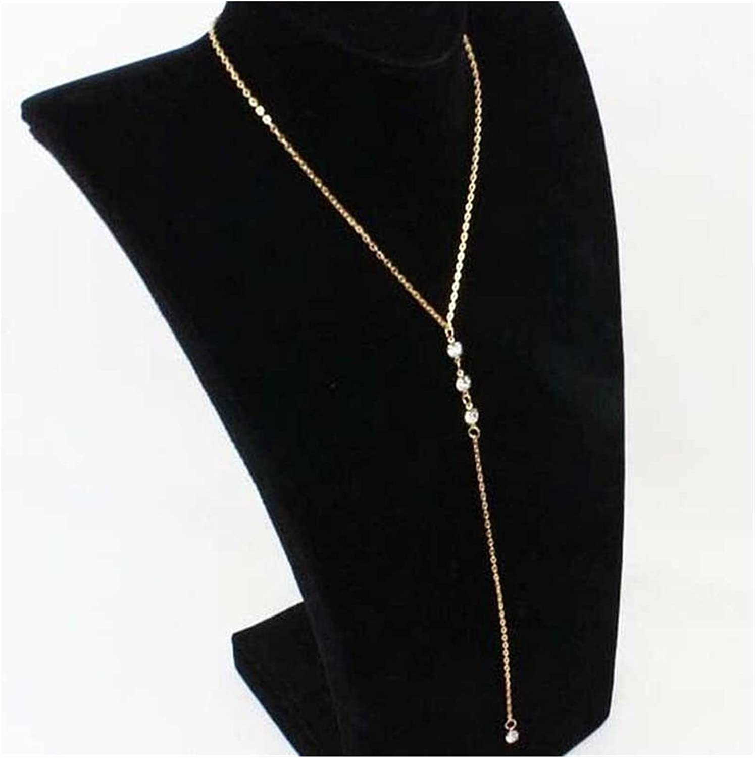 Long Chain Back Necklace Back Pendant Necklace Charms Long Necklace Women Crystal Collares Chain Necklaces Pendants